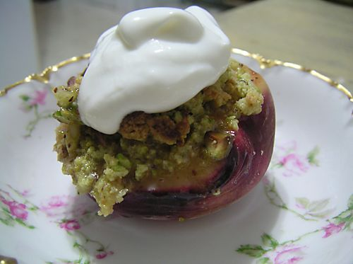 Baked Peaches with Pistachios