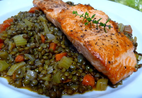 Salmon with French Lentils Recipe