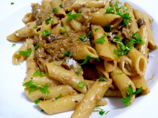 Porcini mushroon and penne pasta