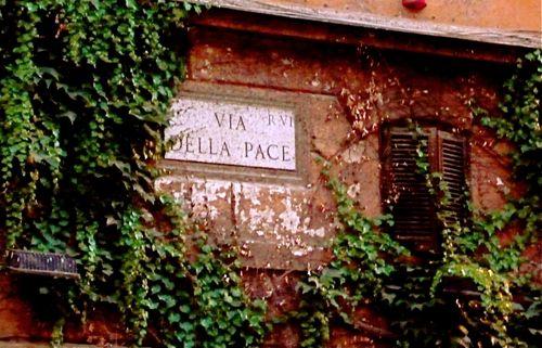 Via Della Pace Sign, Rome