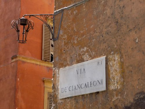 Via de Ciancaleoni Street Sign Rome