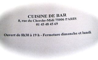 Cuisine de Bar, Paris